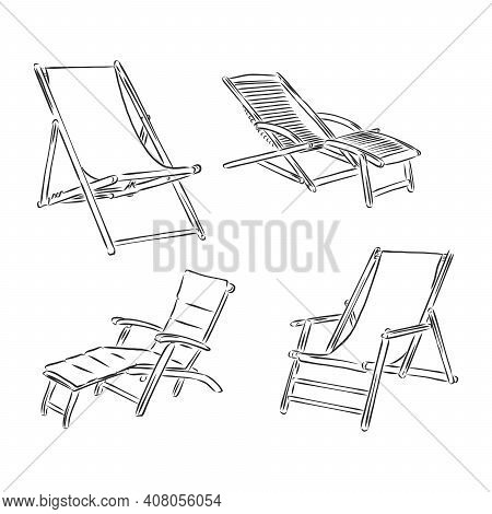Hand Drawn Chaise-longue Sketch Symbol Isolated On White Background. Vector Beach Elements Art Highl