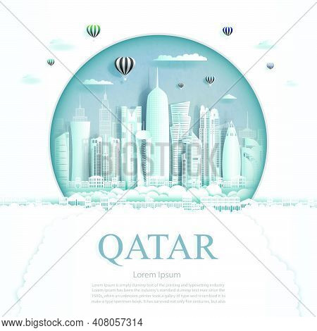 Travel Qatar Monument In Kuwait City Modern Building In Circle Texture Background. Business Travel P