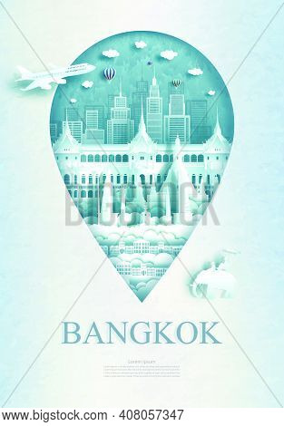 Travel Bangkok Monument Pin In Thailand With Ancient Architecture And City Modern Building Business