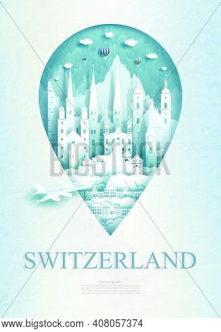 Travel Switzerland Architecture Monument Pin In Europe With Ancient And City Modern Building Busines