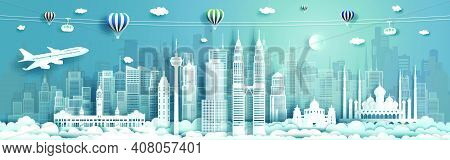 Travel Architecture Malaysia Landmarks In Kuala Lumpur Famous City Of Asia On Blue Background With B