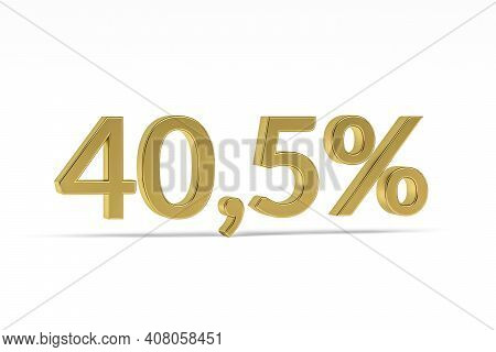 Gold Digit Forty Point Five With Percent Sign - 40,5% Isolated On White - 3d Render