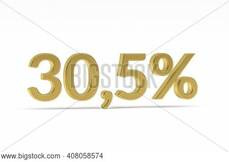 Gold Digit Thirty Point Five With Percent Sign - 30,5% Isolated On White - 3d Render