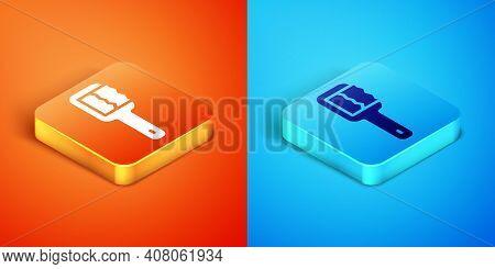 Isometric Sauna Brush Icon Isolated On Orange And Blue Background. Wooden Brush With Coarse Bristles