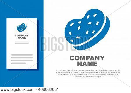 Blue Bath Sponge Icon Isolated On White Background. Sauna Sponge. Logo Design Template Element. Vect