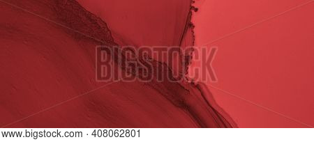 Abstract Blood Background. Red Ink Banner. Horror Splatter Black. Watercolour Maroon Pattern. Blood