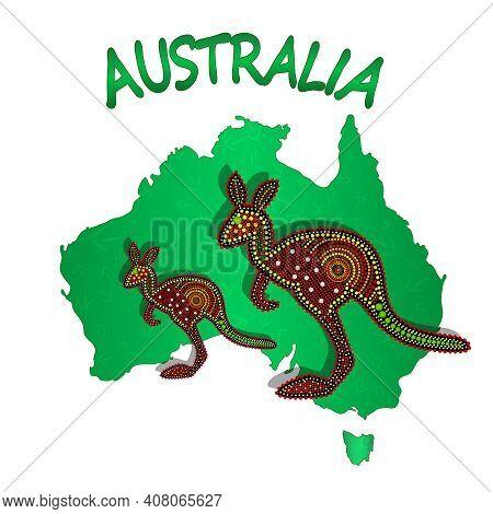 Map Of Australia With Two Kangaroo Isolated On White Background. Australian Continent. Australia Abo