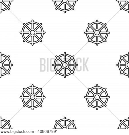 Grey Line Dharma Wheel Icon Isolated Seamless Pattern On White Background. Buddhism Religion Sign. D