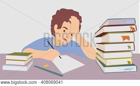 Difficulty Learning From A Teenager. Difficulties In Study. The Tired Child Doesn T Want To Study. E