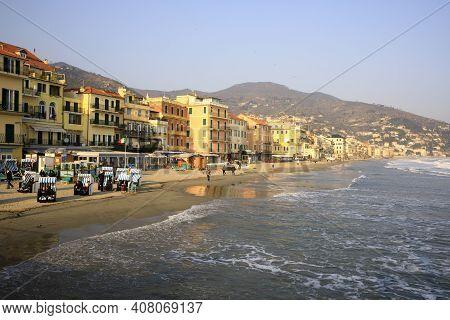 Alassio (sv), Italy - December 12, 2017: Alassio View\'s Town From The Pier, Riviera Dei Fiori, Savo