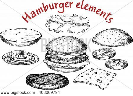 Illustration Of A Burger, Vector Drawing, Sandwich Ingredients. Set Of Hand Drawn Burgers Illustrati