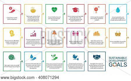 Icons Set .sustainable Development Goals. Vector Eps