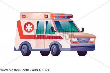 Ambulance Car Isolated Medical Van Cartoon Icon. Emergency Service Vehicle, Medical Evacuation Trans