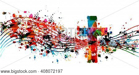 Colorful Christian Cross With Musical Notes Isolated Vector Illustration. Religion Themed Background