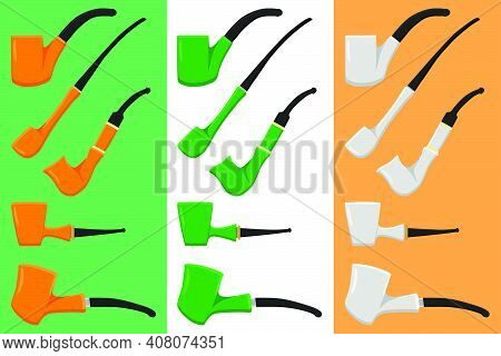Irish Holiday St Patrick Day, Big Set Color Smoking Pipes. Pattern St Patrick Day Consisting Of Many