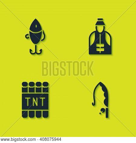 Set Fishing Lure, Rod, Detonate Dynamite Bomb Stick And Fisherman Icon. Vector