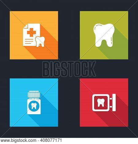 Set Dental Card, Tooth, Painkiller Tablet And Clinic Location Icon. Vector