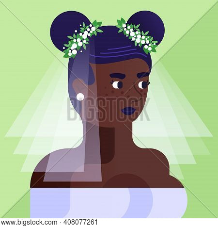 Geometric Contemporary Portrait Of Modern African-american Woman. Bride In Wedding Veil With Two Hai
