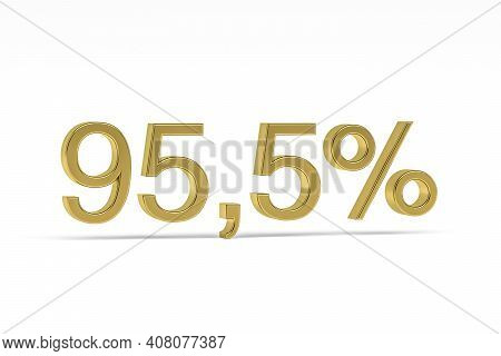 Gold Digit Ninety-five Point Five With Percent Sign - 95,5% Isolated On White - 3d Render