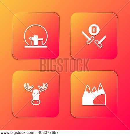Set Montreal Biosphere, Curling Sport Game, Moose Head With Horns And Mountains Icon. Vector