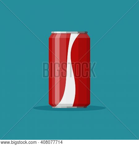 Cola Soda In Red Aluminum Can Icon On Blue Background. Soft Drink Sign. Drink In Packaging. Vector I