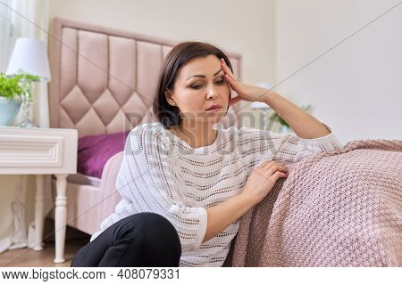 Mental Health, Age-related Physical Health Problems In Middle-aged And Mature Women. Sad, Frustrated
