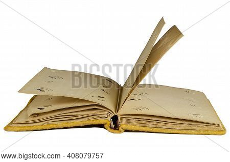Opened Old Photo Album Wrapped In Yellow Velvet On A White Background. Vintage Photo Album With Blan