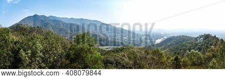 View Of Picturesque Haze Valley Of The Kok River And Thai Border Town Of Tha Ton From The Hill Top C