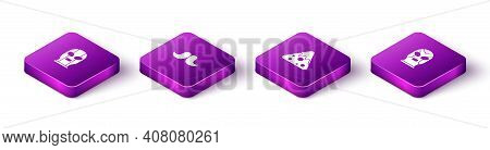 Set Isometric Mexican Wrestler, Mustache, Nachos And Icon. Vector