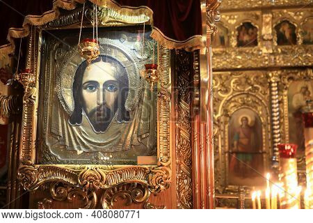 Icon Of Savior Made Without Hand In Orthodox Church