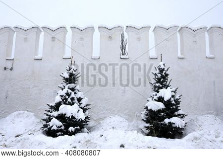 Wall Of Raifa Monastery In Winter