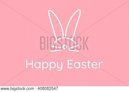 Happy Easter. Pink Cute Festive Horizontal Greeting Card With Rabbit Ears. Greeting Card Hidden Bunn