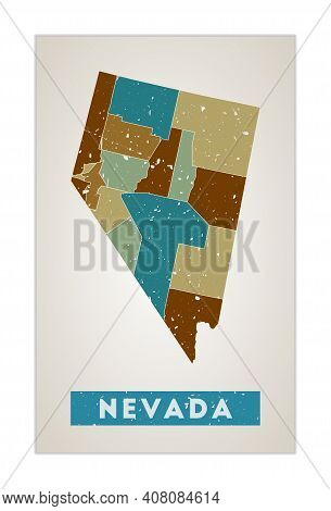 Nevada Map. Us State Poster With Regions. Old Grunge Texture. Shape Of Nevada With Us State Name. Be