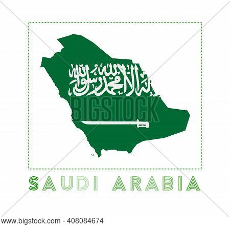 Saudi Arabia Logo. Map Of Saudi Arabia With Country Name And Flag. Appealing Vector Illustration.
