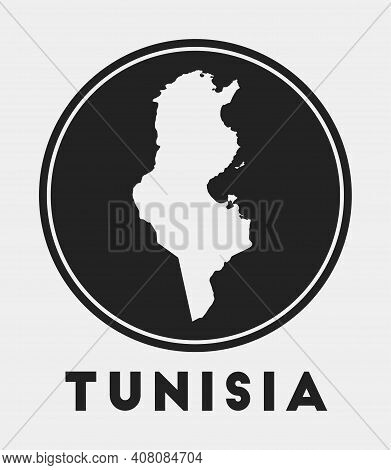 Tunisia Icon. Round Logo With Country Map And Title. Stylish Tunisia Badge With Map. Vector Illustra
