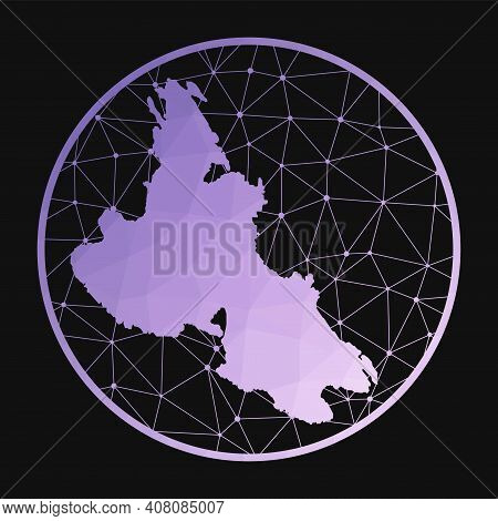 Krk Icon. Vector Polygonal Map Of The Island. Krk Icon In Geometric Style. The Island Map With Purpl