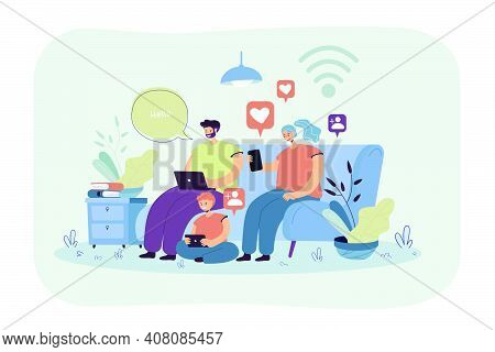 Addicted Family Using Digital Gadgets For Chatting On Social Media. Parents And Kid Using Smartphone