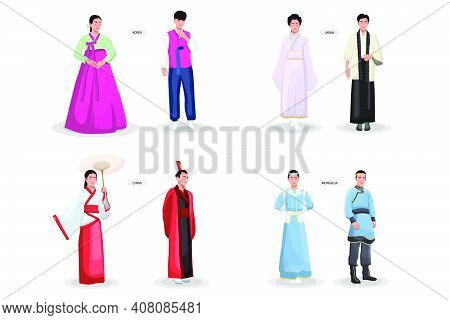 Asian Traditional Costumes Set. Ancient Female Kimonos, Male Clothes, Japanese, Chinese, Vietnamese,