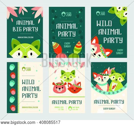 Animal Big Party Flyers Set. Friendly Cute Raccoon, Fox, Bear With Decoration In Boho Style. Vector