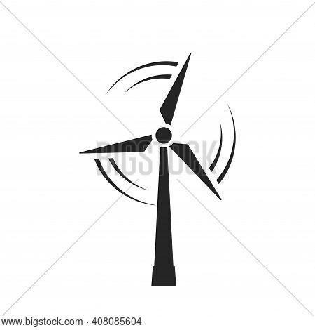 Wind Energy Icon. Eco Friendly, Sustainable And Alternative Energy Symbol. Wind Turbine Isolated Vec