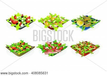Bowls Of Salads Set. Mix Of Fresh Green Vegetables, With Cheese, Bacon, Meat, Seafood, Eggs. Vector