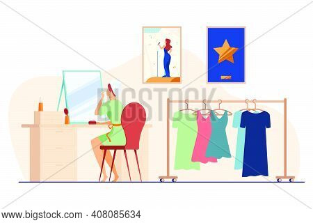Celebrity Preparing For Show In Makeup Room. Woman At Mirror, Dresses On Hangers Flat Vector Illustr