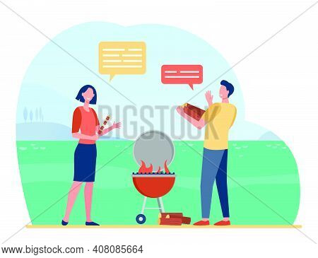 Cheerful Couple Cooking Barbeque On Nature And Talking. Bbq, Meal, Picnic Flat Vector Illustration.