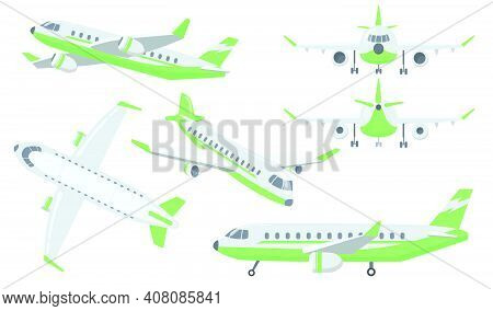 Different Views Of Airplane Set. Plane Is Flying In Air, Taking Off Or Landing With Gears, Front, Si
