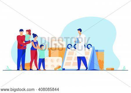 Doctor Prescribing Drug To Happy Family. Pediatrician, Parents, Kids Flat Vector Illustration. Pharm