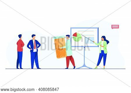 Drug Developers Presenting New Meds To Buyer. Presentation, Pills, Pharmaceuticals Flat Vector Illus