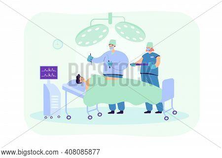 Experienced Surgeons Team Treating Patient On Operation Table Flat Vector Illustration. Cartoon Medi