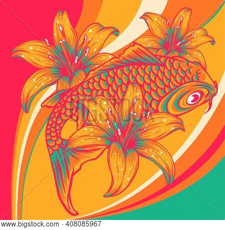 Koi Fish With Flower Colored Background Vector