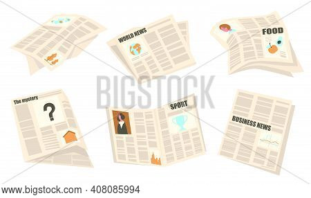 Front Pages Set. Newspapers With Headlines, Articles And Pictures, Sport, Business, World News. Vect