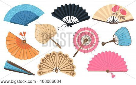 Hand Fans Set. Chinese And Japanese Paper Fans, Vintage Asian Accessories. Vector Illustrations For